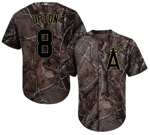 Angels #8 Justin Upton Camo Realtree Collection Cool Base Stitched Youth MLB Jersey