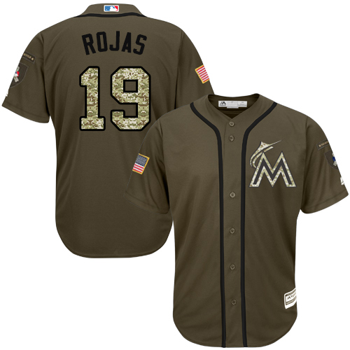 Marlins #19 Miguel Rojas Green Salute to Service Stitched Youth MLB Jersey