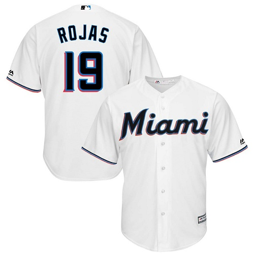 Marlins #19 Miguel Rojas White Cool Base Stitched Youth MLB Jersey