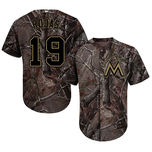 Marlins #19 Miguel Rojas Camo Realtree Collection Cool Base Stitched Youth MLB Jersey