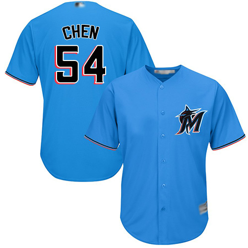 Marlins #54 Wei-Yin Chen Blue Cool Base Stitched Youth MLB Jersey