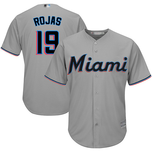 Marlins #19 Miguel Rojas Grey Cool Base Stitched Youth MLB Jersey