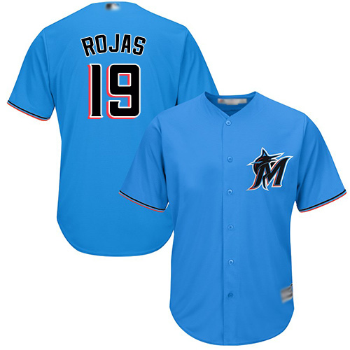 Marlins #19 Miguel Rojas Blue Cool Base Stitched Youth MLB Jersey