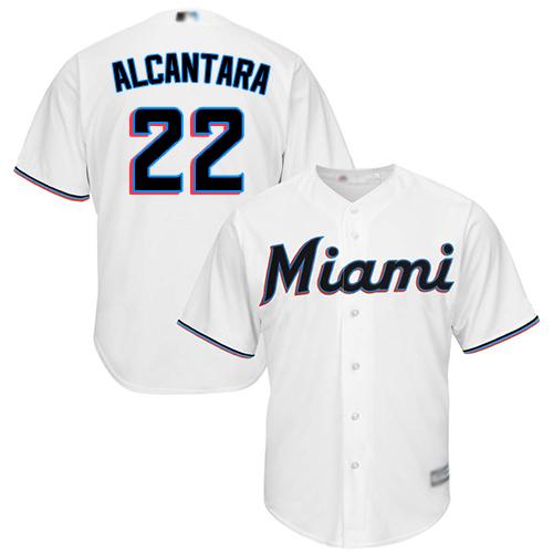 Marlins #22 Sandy Alcantara White Cool Base Stitched Youth MLB Jersey