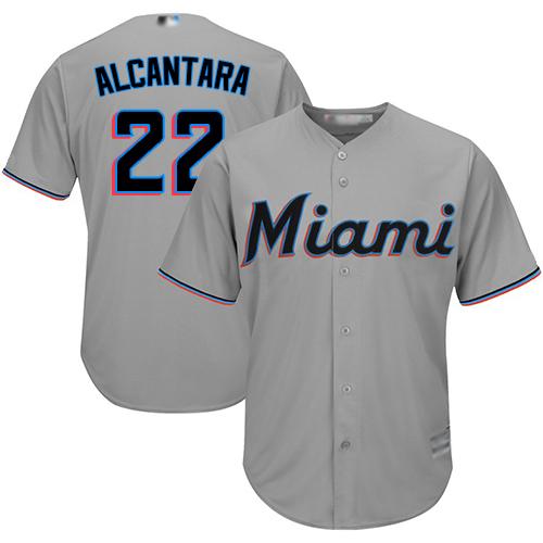 Marlins #22 Sandy Alcantara Grey Cool Base Stitched Youth MLB Jersey