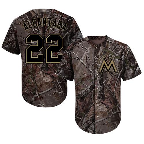 Marlins #22 Sandy Alcantara Camo Realtree Collection Cool Base Stitched Youth MLB Jersey