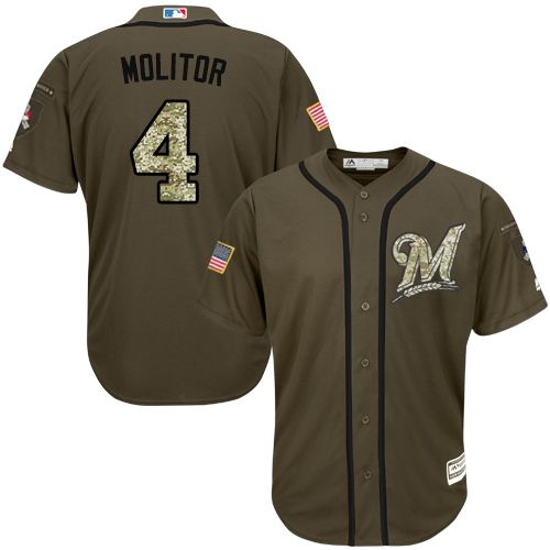 Brewers #4 Paul Molitor Green Salute to Service Stitched Youth MLB Jersey