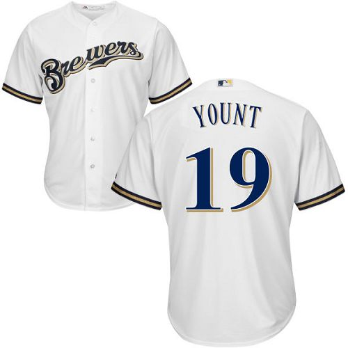 Brewers #19 Robin Yount White Cool Base Stitched Youth MLB Jersey