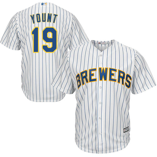 Brewers #19 Robin Yount White Strip Cool Base Stitched Youth MLB Jersey
