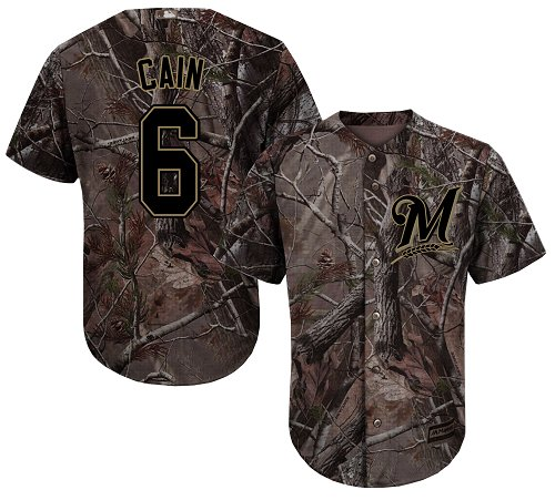 Brewers #6 Lorenzo Cain Camo Realtree Collection Cool Base Stitched Youth MLB Jersey