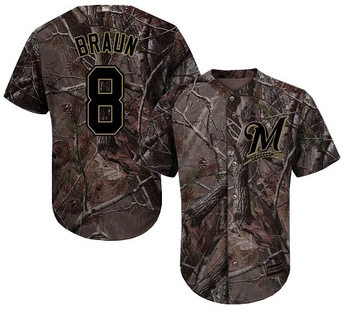 Brewers #8 Ryan Braun Camo Realtree Collection Cool Base Stitched Youth MLB Jersey