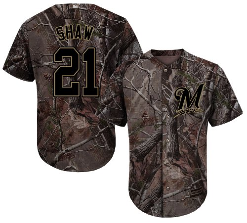 Brewers #21 Travis Shaw Camo Realtree Collection Cool Base Stitched Youth MLB Jersey