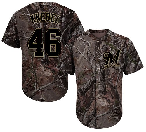 Brewers #46 Corey Knebel Camo Realtree Collection Cool Base Stitched Youth MLB Jersey