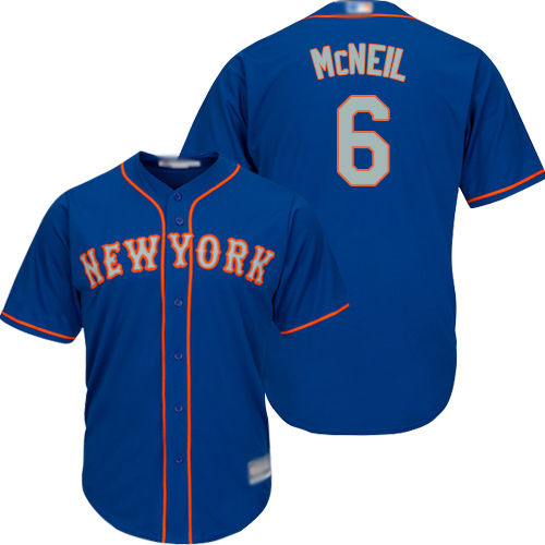 Mets #6 Jeff McNeil Blue(Grey NO.) Cool Base Stitched Youth MLB Jersey