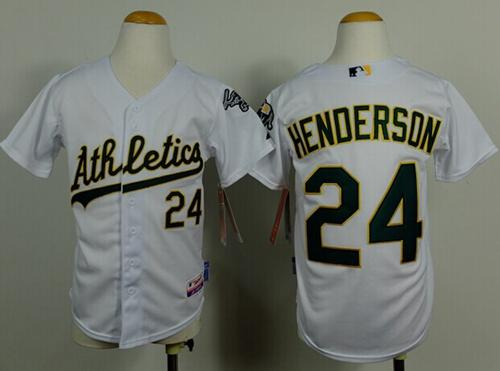 Athletics #24 Rickey Henderson White Cool Base Stitched Youth MLB Jersey