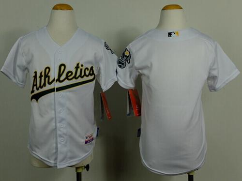 Athletics Blank White Cool Base Stitched Youth MLB Jersey
