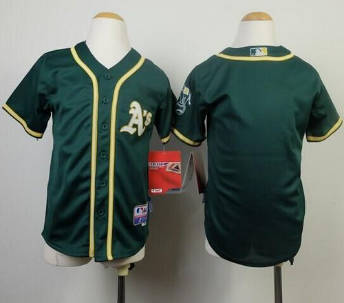 Athletics Blank Green Cool Base Stitched Youth MLB Jersey