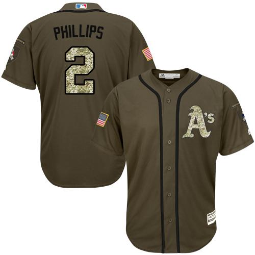 Athletics #2 Tony Phillips Green Salute to Service Stitched Youth MLB Jersey
