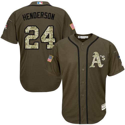 Athletics #24 Rickey Henderson Green Salute to Service Stitched Youth MLB Jersey