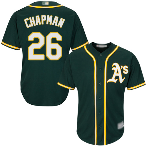Athletics #26 Matt Chapman Green Cool Base Stitched Youth MLB Jersey