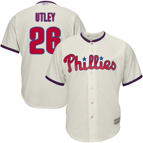 Phillies #26 Chase Utley Stitched Cream Youth MLB Jersey