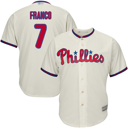 Phillies #7 Maikel Franco Cream Cool Base Stitched Youth MLB Jersey