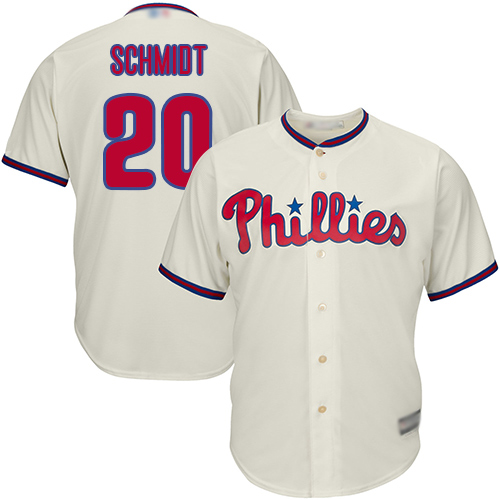 Phillies #20 Mike Schmidt Cream Cool Base Stitched Youth MLB Jersey
