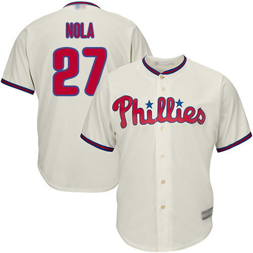 Phillies #27 Aaron Nola Cream Cool Base Stitched Youth MLB Jersey