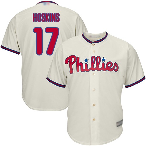 Phillies #17 Rhys Hoskins Cream Cool Base Stitched Youth MLB Jersey