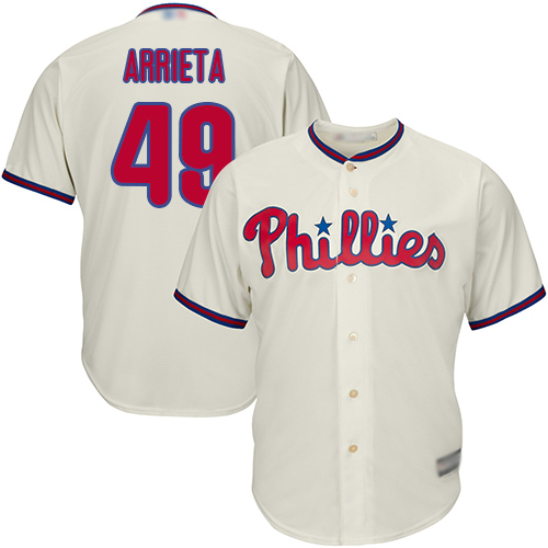 Phillies #49 Jake Arrieta Cream Cool Base Stitched Youth MLB Jersey