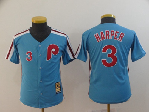 Phillies #3 Bryce Harper Light Blue Cool Base Cooperstown Stitched Youth MLB Jersey