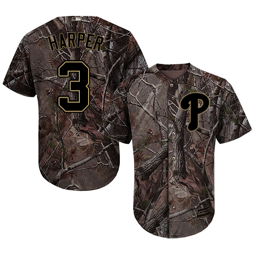 Phillies #3 Bryce Harper Camo Realtree Collection Cool Base Stitched Youth MLB Jersey