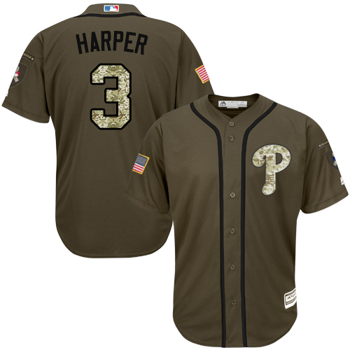 Phillies #3 Bryce Harper Green Salute to Service Stitched Youth MLB Jersey