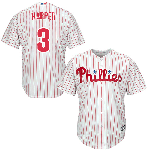 Phillies #3 Bryce Harper White(Red Strip) Cool Base Stitched Youth MLB Jersey