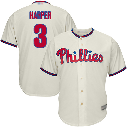 Phillies #3 Bryce Harper Cream Cool Base Stitched Youth MLB Jersey