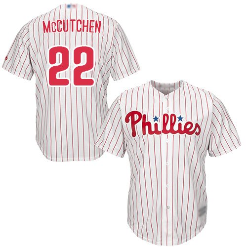 Phillies #22 Andrew McCutchen White(Red Strip) Cool Base Stitched Youth MLB Jersey