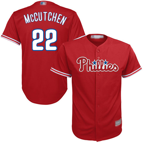Phillies #22 Andrew McCutchen Red Cool Base Stitched Youth MLB Jersey