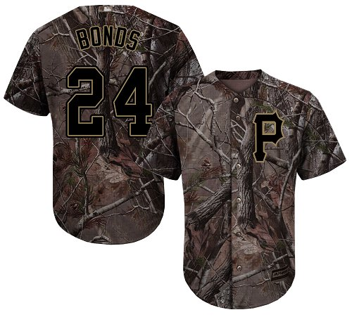 Pirates #24 Barry Bonds Camo Realtree Collection Cool Base Stitched Youth MLB Jersey