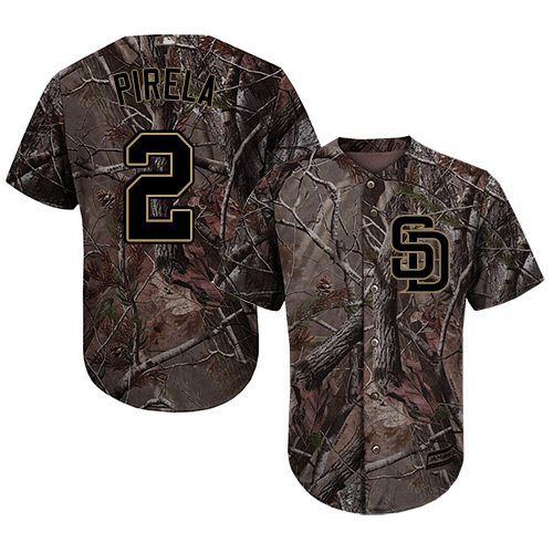 Padres #2 Jose Pirela Camo Realtree Collection Cool Base Stitched Youth MLB Jersey