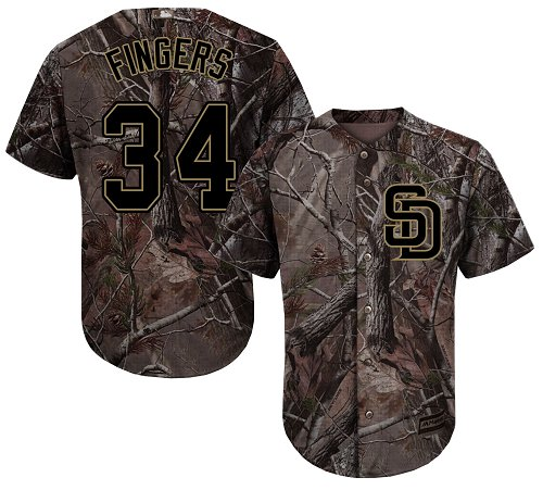 Padres #34 Rollie Fingers Camo Realtree Collection Cool Base Stitched Youth MLB Jersey