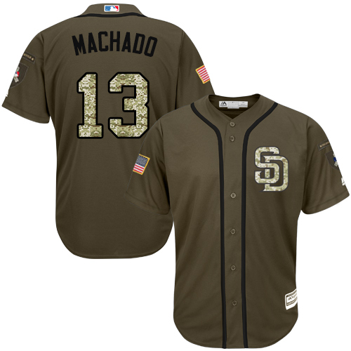 Padres #13 Manny Machado Green Salute to Service Stitched Youth MLB Jersey