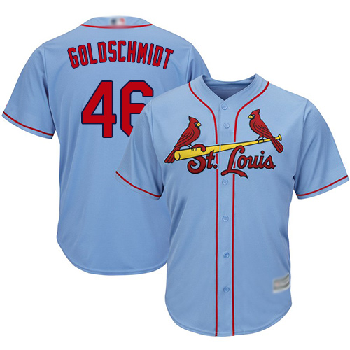 Cardinals #46 Paul Goldschmidt Light Blue Cool Base Stitched Youth MLB Jersey