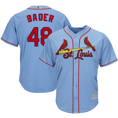 Cardinals #48 Harrison Bader Light Blue Cool Base Stitched Youth MLB Jersey