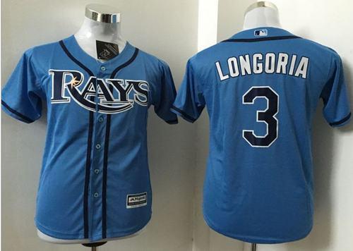 Rays #3 Evan Longoria Light Blue Stitched Youth MLB Jersey