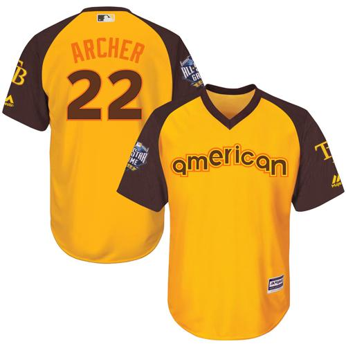 Rays #22 Chris Archer Gold 2016 All-Star American League Stitched Youth MLB Jersey