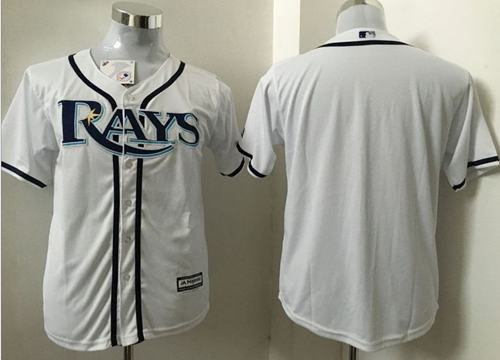 Rays Blank White Cool Base Stitched Youth MLB Jersey
