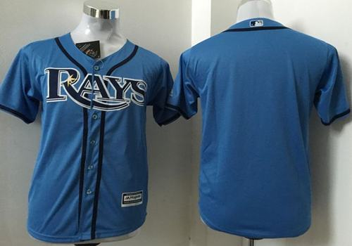 Rays Blank Light Blue Cool Base Stitched Youth MLB Jersey