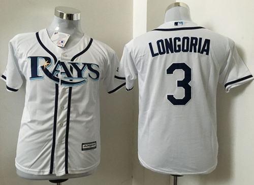 Rays #3 Evan Longoria White Cool Base Stitched Youth MLB Jersey