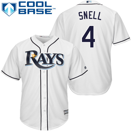 Rays #4 Blake Snell White Cool Base Stitched Youth MLB Jersey