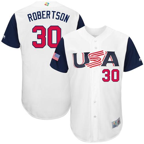 Team USA #30 David Robertson White 2017 World MLB Classic Authentic Stitched Youth MLB Jersey